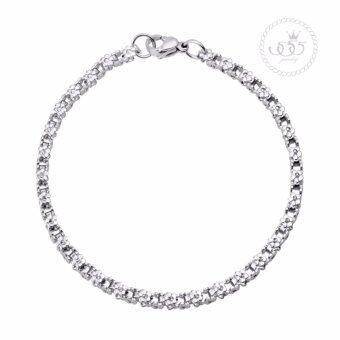 555jewelry สร้อยข้อมือ Chain box ลายดอกไม้ ดีไซน์น่ารักดูสุภาพ รุ่น MNC-BR462-A - (BR38)
