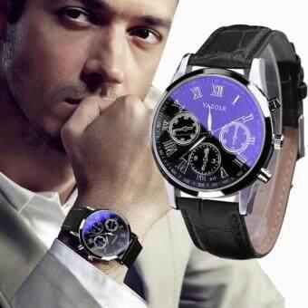 ลักซูรี่แฟชั่นหนังบุรุษสีน้ำเงิน Ray นาฬิกาข้อมือนาฬิกาแก้วผลึกคล้ายคลึงสีดำจัดส่งฟรี