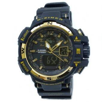 D-ZINER นาฬิกาข้อมือชาย 2 ระบบ ขอบหน้าปัดทอง สายพลาสติก (สีดำ)