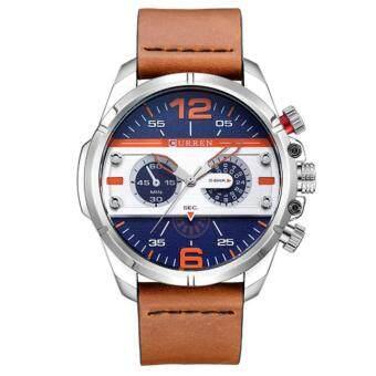 Curren นาฬิกาข้อมือผู้ชาย สายหนังสีน้ำตาล หน้าปัดสีฟ้า/ขอบเงิน รุ่น C8259