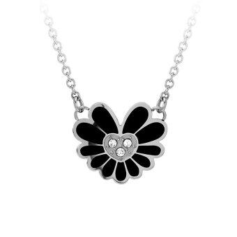 555jewelry จี้พร้อมสร้อย สแตนเลสสตีล - จี้ดีไซน์สวยรูปดอกไม้ (สี ดำ-สตีล)