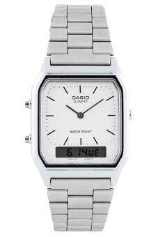 Casio Standard นาฬิกาข้อมือผู้ชาย สีเงิน/ขาว สายสแตนเลส รุ่น AQ-230A-7DMQ