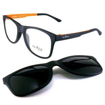 KOREA แว่นตา รุ่น POLO P-006 สีดำตัดส้ม มีคลิปแม่เหล็ก เลนส์กันแดด + เบาและยืดหยุ่นสูง
