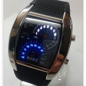 นาฬิกาข้อมือแฟชั้น LED หน้าปัดไมล์รถยนต์ไฟดิจิตอล สีขาวและน้ำเงิน กรอบสีเงิน สายซิลิโคนสีดำ มีคู่มือภาษาอังกฤษ