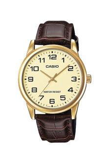 Casio Standard นาฬิกาข้อมือ สายหนัง รุ่น MTP-V001GL-9BUDF - สีทอง