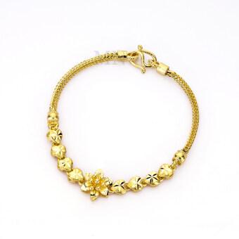 MONO Jewelry สร้อยข้อมือจากเศษทองแท้ ลายสี่เสาประดับดอกไม้พ่นทราย น้ำหนัก ๒ สลึง