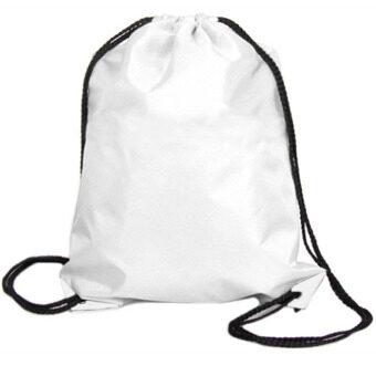 ถุงผ้าไนลอนเชือกรัดแน่นกระเป๋าเป้กระเป๋ากีฬาท่องเที่ยวกลางแจ้งขาว