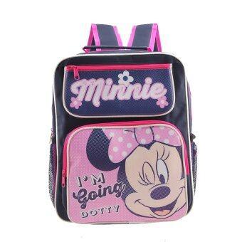 Disney Mickey Mouse กระเป๋าเป้ กระเป๋าสะพายหลัง กระเป๋านักเรียน (สีน้ำเงินคาดชมพู)