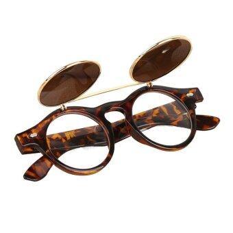 แว่นตาแว่นสตีมพังก์ผีดิบขึ้นมาโยนแว่นตากันแดดเรโทรสีเหลือง