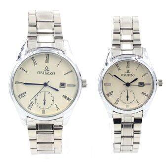 OSHRZO Date Quartz นาฬิกาข้อมือคู่รัก มีระบบวันที่ - 9126-8085 (Silver/ White)