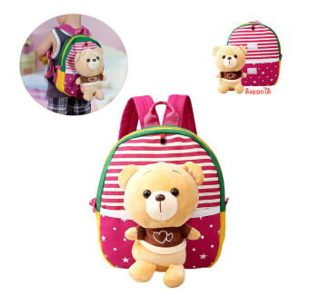 TravelGear24 กระเป๋าหมี กระเป๋าเป้ เป้เด็ก กระเป๋าหนังสือ กระเป๋าเด็ก กระเป๋าสะพาย สำหรับเด็ก กระเป๋าหมี School Children Backpack Bag Rucksack กระเป๋าหมีสายสะพายสีชมพู