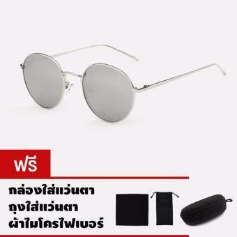 CAZP Sunglasses แว่นกันแดด ทรงกลม Classic Round Metal Style รุ่น 3447 Polarized กรอบเงิน/เลนส์ปรอทสีเงิน (Silver/Mirrored Silver) สวมใส่ได้ทั้งชายและหญิง 55mm