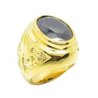 TanGems แหวนผู้ชายพลอยรูปไข่สีนิลดำประดับลายฉลุมังกร รุ่น 2428 (ทอง/นิล)