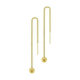 555jewelry ต่างหู สแตนเลสสตีล - ต่างหูแบบเสียบปรับความยาวได้ตุ้มกลมผิวทรายระยิบ (สี - ทอง) MNC-ER332-B