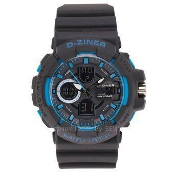 D-ZINER นาฬิกาข้อมือผู้ชาย สายซิลิโคน รุ่น DZ-8033-BK-BL (สีดำ)