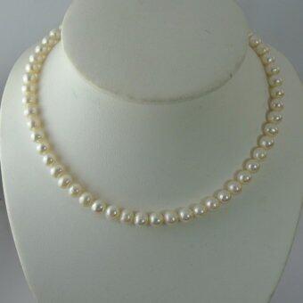 Pearl Jewelry สร้อยคอมุก กลม 6.9 มิล ไข่มุกน้ำจืดแท้ เรียบแต่โก้