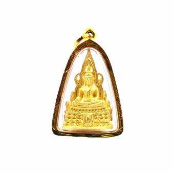 จี้พระพุทธชินราช องค์เล็กกลาง ขอบทอง ลายไทย กรอบทอง ทรงสามเหลี่ยมสูง ห่วงกลม(Gold)