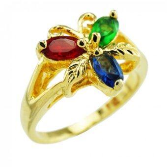 Tfine แหวนพลอย3สีผีเสื้อชุบทอง