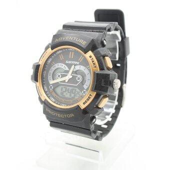 Submariner นาฬิกาข้อมือชาย สายยาง2ระบบ(เข็มและDigital) - SS20011 (Black-Gold)