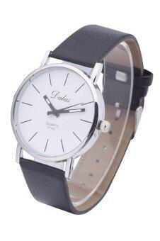 Dalas JD302 วินเทจแฟชั่นการออกแบบหญิง ๆ นาฬิกาข้อมือสายหนังผลึก (สีดำรัดขาวพื้นผิว)