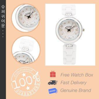 Daybird นาฬิกาข้อมือผู้หญิง หน้าปัดประดับลายสลักหิมะ สไตล์เกาหลี สายเซรามิค รุ่น DB-3878-WH-SV สีขาว นาฬิกาข้อมือผู้หญิง นาฬิกาสไตล์เกาหลี นาฬิกาข้อมือ นาฬิกาเซรามิค