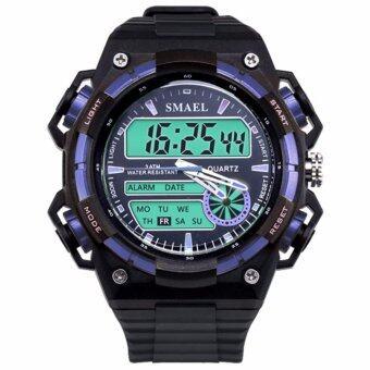 MEGA กันน้ำ กีฬา นาฬิกาข้อมือ ชายและหญิง Sport Watch Dual Time Display LED Digital Quartz Waterproof 50M รุ่น MG0030 (Blue)
