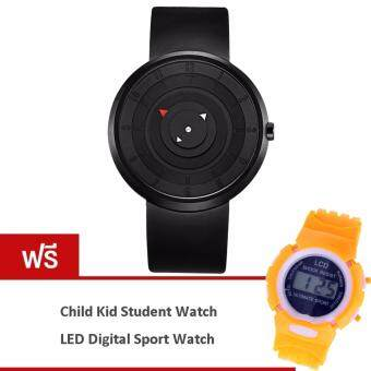 MEGA Unique Design Waterproof Creative Fashion Quartz Watches หน้าปัดกลมเรียบ สายซิลิโค กันน้ำ รุ่น MG0021 (Black) (ฟรี Fashion Colorful Kid Student Sport Watch Orange)