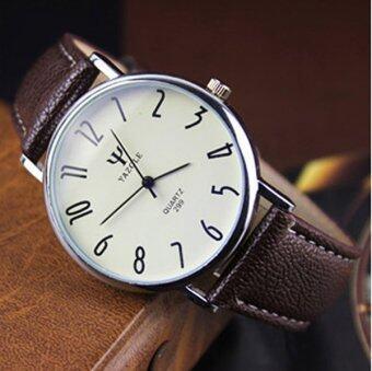 ธุรกิจท่องเที่ยวนักนิยมนาฬิกาควอทซ์กันน้ำโต๊ะเข็มขัดหนังสีน้ำตาล