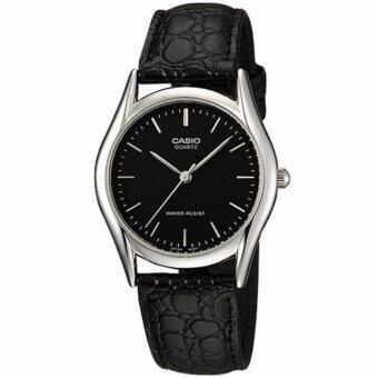 CASIO Standard นาฬิกาข้อมือผู้ชาย สีดำ/เงิน สายหนัง รุ่น MTP-1094E-1ADF