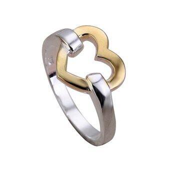 Sanwood หญิงโกลเด้นสั่งหัวใจรักเงินชุบเครื่องประดับแหวน