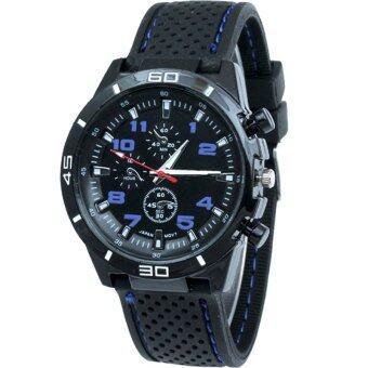 MEGA Sport Quartz Fashion F1 Racing Luxury Watch Military Army Wristwatches หรูหรานาฬิกาข้อมือ สายหนัง กันน้ำ รุ่น MG0017 (Blue)
