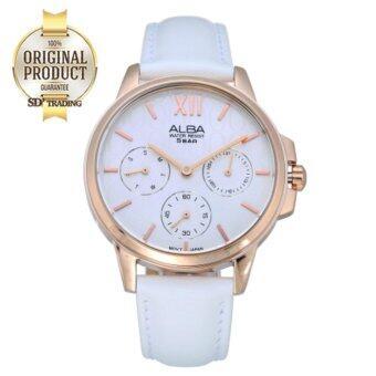 ALBA นาฬิกาข้อมือผู้หญิง สายหนังขาว สี Pinkgold รุ่น AP6492X1