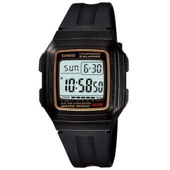 Casio Standard นาฬิกาข้อมือผู้ชาย สีดำ สายเรซิ่น รุ่น F-201WA-9ADF