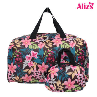 Alizs กระเป๋าเดินทางลายดอกไม้น้ำตาล