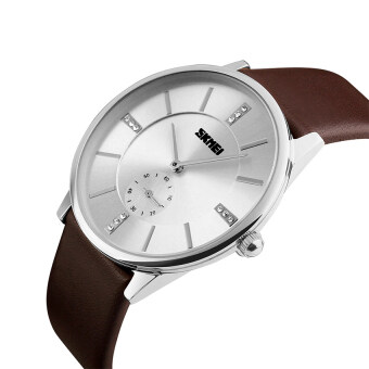 2016 คุณภาพสูง SKMEI 1168คน ' S อุลบางธุรกิจแฟชั่นนาฬิกาควอทซ์สายหนังเงินหอย (สีน้ำตาล)