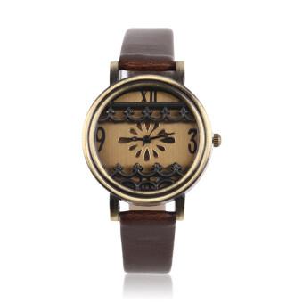 โอ๊ยนาฬิกาควอทซ์หน้าปัดคล้ายคลึงเหล้าผู้หญิงนาฬิกาข้อมือหนังของขวัญกาแฟเรโทร