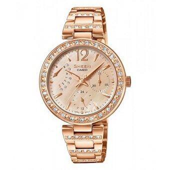 Casio Sheen นาฬิกาผู้หญิง สายสแตนเลส รุ่น SHE-3043PG-9AUDR (Pink Gold)