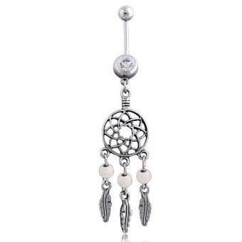 Harga Okdeals Vogue Crystal Dream Catcher Navel Dangle Belly Barbell Button Bar Ring Body White