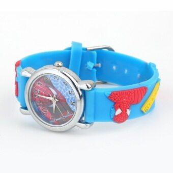 คนแมงมุม Marvel การ์ตูนเด็กผู้ชายลูกยางคล้ายคลึงนาฬิกาข้อมือควอตซ์ (สีน้ำเงิน)