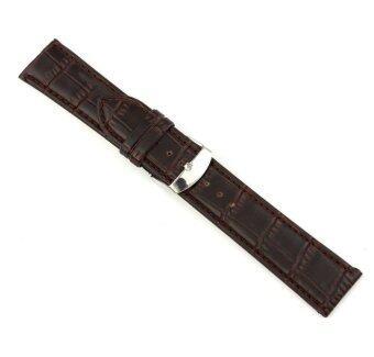 22มมเข็มขัดหนังแท้นิ่มรัดสายนาฬิกาข้อมือเหล็กสีน้ำตาล