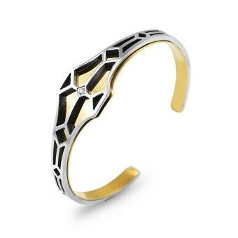 555jewelry กำไลข้อมือ รุ่น MNBG-028T-B (Steel/Yellow Gold)