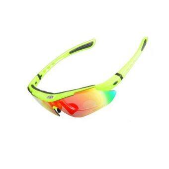 Cbike OBAOLAY แว่นตากันแดด สีเหลือง แว่นตาปั่นจักรยาน แว่นตาขี่จักรยาน มีเปลี่ยนเลนส์ได้ 5 สี