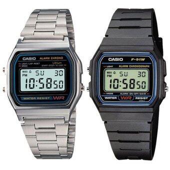 Casio Standard Digital นาฬิกาข้อมือผู้ชาย รุ่น F-91W-1 - Black + Casio Standard Digital นาฬิกาข้อมือผู้ชาย A158WA-1DF- Silver