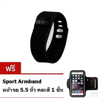 DIDO นาฬิกาอัจฉริยะเพื่อสุขภาพ 3D Smart Pedometer Sport Bracelet (สีดำ)แถมฟรี Sport Armband หน้าจอ 5.5 นิ้ว 1 ชิ้น สีดำ