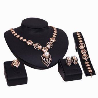 Bluelans คริสตัลเทียมทองมุกสร้อยข้อมือแหวนสร้อยคอต่างหูแหวนชุบเซ็ต