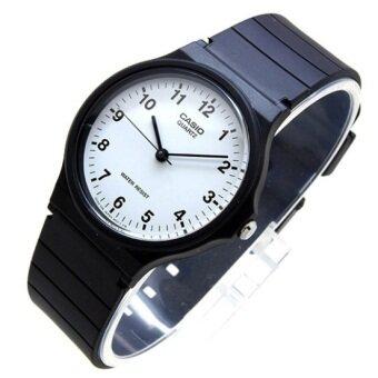 Casio Standard นาฬิกาข้อมือผู้ชาย สายเรซิ่นสีดำหน้าปัดขาว สายเรซิ่น รุ่น MQ-24-7BLDF (ดำ/ขาว)