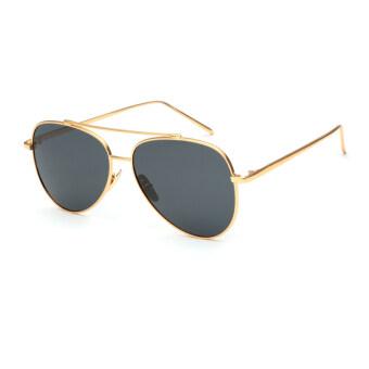 แว่นตาแว่นกันแดดโพลาไรซ์ผู้หญิงคนนักบินสีเทา Polaroid เลนส์ไทเทเนียมแว่นตากันแดดยี่ห้อรถออกแบบกรอบกล่องเดิมÓculos หญิง