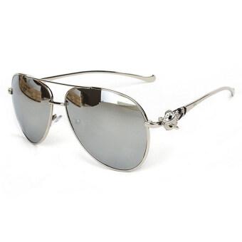 สร้างแบรนด์ดีไซเนอร์หญิงยุคโลหะแว่นตากันแดดสตรีวินเทจจิ้งจอก H1 600...08 (เงิน)