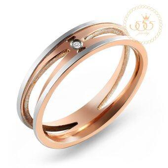 555jewelry เครื่องประดับ ผู้หญิง แหวน สแตนเลสสตีล - แหวนดีไซน์สวยเก๋ไม่ซ้ำใครประดับ CZ สี พิ้งโกลด์ รุ่น MNC-R639-C