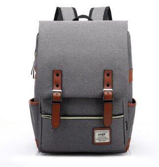 เป้ผ้าใบแฟชั่นผู้ชายรายวันสำหรับคอมพิวเตอร์แล็ปท็อปกระเป๋าใหญ่ความจุนักเรียนเรียนกันเอง Bagpacks สะพายเป้ท่องเที่ยว (สีเทา)